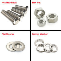 M4 M5 M6 Stainless Steel Hexagon Head Screws Bolt Hex Nut Flat Spring Washers