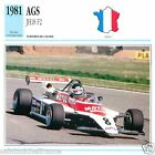 AGS JH18 F2 1981 CAR VOITURE FRANCE CARTE CARD FICHE