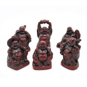 """SET OF 6 HAPPY BUDDHA STATUES 2"""" Red Color Resin Hotei Fat Laughing Feng Shui"""