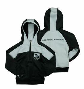 Reebok NHL Youth Girl's Los Angeles Kings 1/4 Zip Active Pullover Hoodie, Black