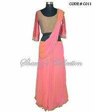 Bollywood Designer Indian Pakistani Stitched Saree-Pink-copper saree