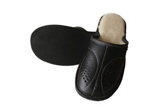 Men's Slippers Sheepskin Wool Black Leather Shoes Size UK 6.5-11 Luxury Moccasin