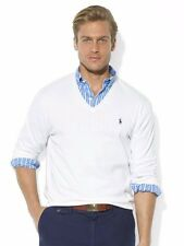 Polo Ralph Lauren Mens Blue Solid Pima Cotton V Neck Slim Knit Pony Logo Sweater