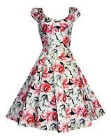 Beautiful Lilies Floral Print 1940's 1950's Flared Cotton Tea Dress New 8 - 18