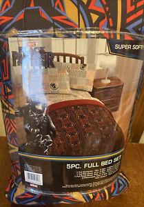 MARVEL BLACK PANTHER 5pc FULL BED SET COMFORTER SHEETS NEW