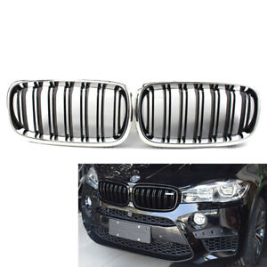 Fit For BMW X5 F15 15-17 Pair of Chrome Frame Gloss Black Slat Front GRILLE