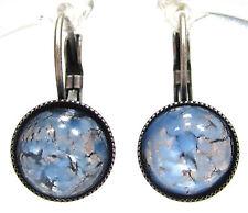 SoHo® Ohrhänger vintage Glas blue opal handgemachte Glassteine 1950er Jahre