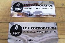 NOS Fox Minibike Go Kart 2 ID Serial Number Stickers