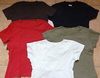 5 T-Shirt 34-36 Konvolut Hanes-Spicy S. Oliver braun wein-rot schwarz oliv creme