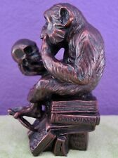 Hugo Rheinhold DARWIN PHILOSOPHIZING MONKEY & SKULL Sculpture Statue Small Size