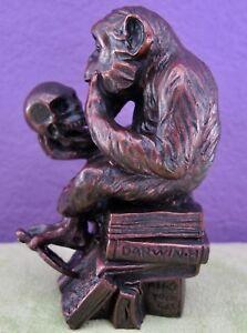 Hugo Rheinhold DARWIN PHILOSOPHIZING MONKEY & SKULL Sculpture Statue Small Size