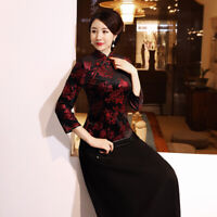 Chinese Traditional Tops Women Velvet Shirt Lady Blouse Size M to 5XL