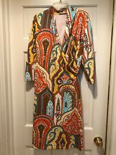 Great J.M. Laughlin Wrap Front Paisley 3/4 Sleeves Dress Size L