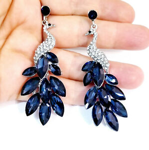 Peacock Drop Earrings Rhinestone Chandelier 2.9 inch Montana Blue