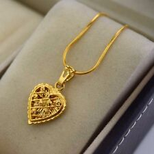 """24K Yellow Gold Filled Pendant Necklace Heart Love 18""""chain Link GF Jewelry Gift"""
