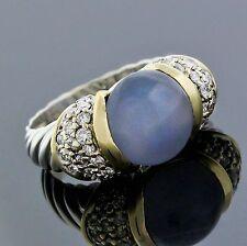 David Yurman 18K Yellow Gold 925 Silver Chalcedony Diamond Cable Ring Size 4.75