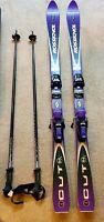 Vintage Rossignol Cut 10.4 Purple Skis with Bindings, Lido Hard Case & poles lot