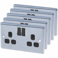 5 X LAP 13A 2-Gang SP Switched Plug Sockets Brushed Stainless Steel