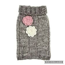 New listing Top Paw Grey Cable Knit Marled Dog Sweater with Flowers Pullover Sz Xl