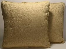 "2 18"" Light Gold Matelasse Floral Handmade Decorative Throw Pillows & Forms"