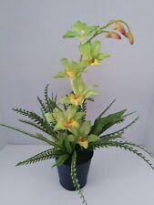 "19"" Artificial Potted Dendrobium Orchid . Silk Flower Arrangements LIME"