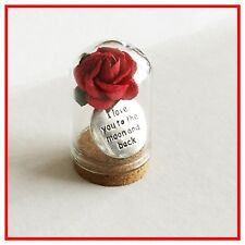 MINI GLASS BOTTLE  DOME  KEEPSAKE GIFT. (3.5cms) 'I LOVE YOU TO THE MOON & BACK'