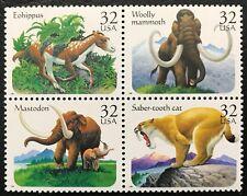 1996 Scott #3077 - 3080, 32¢, PREHISTORIC ANIMALS - Mint NH - Block of 4