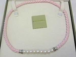 Judith Ripka Pearl & Pink Silk Cord Necklace 925 Sterling Magnetic Clasp in Box