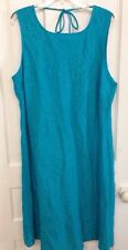 New Russ Berens Turquoise Floral Print Tunic Dress 100% Linen Women's Size Large