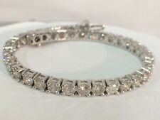 11.00ct ROUND CUT DIAMOND TENNIS BRACELET 14K WHITE GOLD D SI1 CERTIFIED