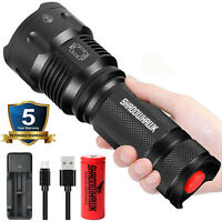 Super-bright LED Flashlight 80000LM USB Rechargeable Shadowhawk Tactical Torch