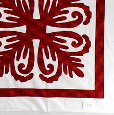 Red & White Hawaiian design QUILT TOP - All Hand Applique work ! - Very Nice