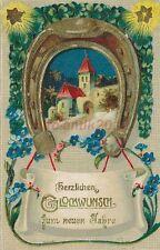 AK, Prägekarte, Neujahrskarte - Kirche unter Hufeisen, 1915; 5026-77