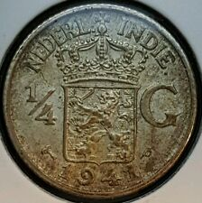 1941 P East Indonesia Netherlands 1/4 Gulden Silver Coin WWII Era KM#319 A