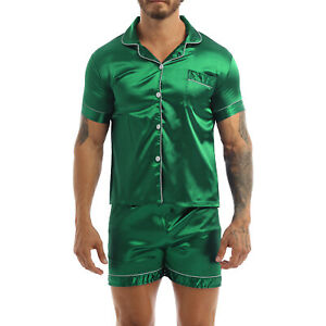 Men's Silk Satin Night Pajamas Long Sleeve Button Down Sleepwear Nightwear Set