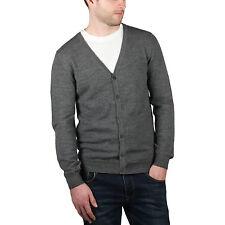 New Mens Merino Wool V Neck Cardigan Knitted Plain Button Up Designer Cardi Top