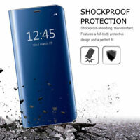 Housse Etui, coque à clapet miroir translucide  bleu pour Samsung Galaxy S8+