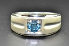 Blue Solitaire Diamond Wedding Band .925 Sterling Silver Round Cut Ring 0.50 Ct