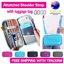 TRAVEL WALLET PASSPORT HOLDER DOCUMENT ORGANIZER IPHONE ZIP CASE Strap Blue