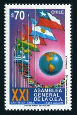 Chile 961 two stamps,MNH.Mi 1434. General Assembly of American States,1991.Flags