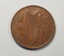 1935 Penny Ireland Bronze World Coin Irish Harp Hen with Chicks KM3 Eire pence