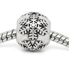 One Charm Bead CHRISTMAS SNOWFLAKE Fits European Bracelet or Necklace s33