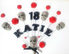 Skull & rose tattoo birthday personalised cake topper, handmade cake decoration