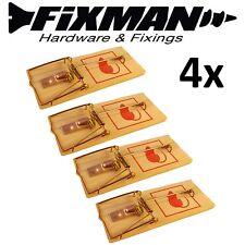 4 X FIXMAN Reutilizable De Madera mouse traps Cebo Ratones alimañas Roedor Control De Plagas