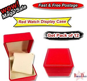 12x Hotstar Red Watch Display Case Jewelry Collection Storage Leather Watch Box
