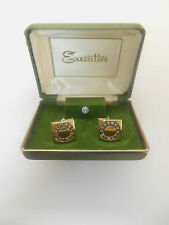 BEAUTIFUL GOLD PLATED & BLUE RHINESTONE EXECUTIVE CUFFLINKS & TIE TACK IN BOX **