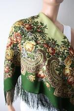 Russian Pavlovo Posad Shawl 100% wool with silk fringe 89x89cm(35x35inhes)779-10