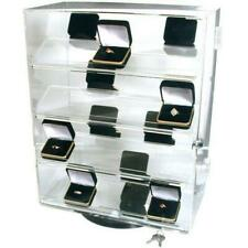 Revolving Vertical Acrylic Top Locking Jewelry Display Case 4 Shelves