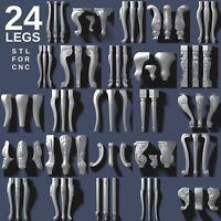 3d stl model cnc router artcam aspire 24 pcs legs collection