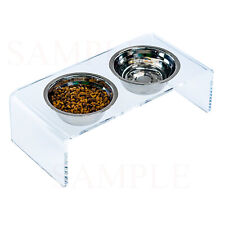 Acrylic Elevated Pet Bowls for Cats and Dogs - 2 Stainless Steel Food Container